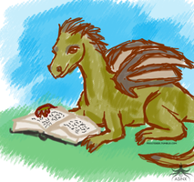 Reading dragon by asinx