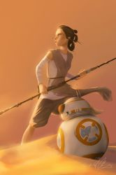 Rey and BB-8 by scri3e