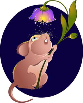 Mouse with flower by JuliaRemesova