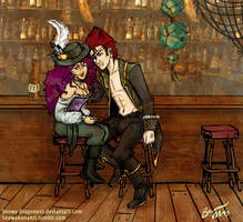 Xeralei and Lav at Bar by Snowy-Dragoness