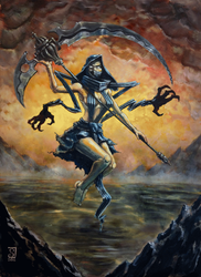 Animated Death Goddess painting by Polysics