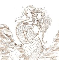 .::Link and Zelda mermaids::. by navi-the-cute-fairy
