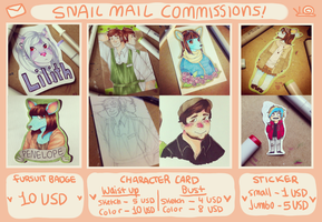 SNAIL MAIL COMMISSIONS!! by satyrdays