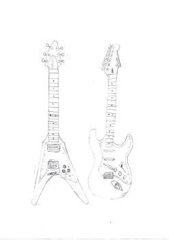 flying v and stratocastor by superguitaralex