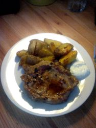 Steak with American Potatoes and Tartar Sauce by Vex2001
