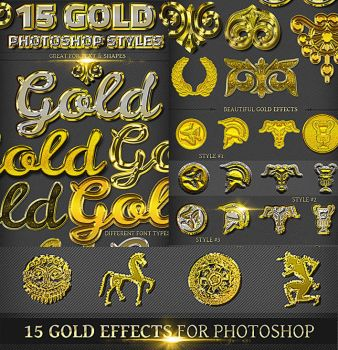 15 Gold Photoshop Styles by PsdDude