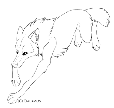 Lineart-Comic Wolf by Daexmos