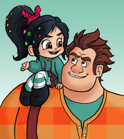 WIR-Ralph and Vanellope by queenbean3