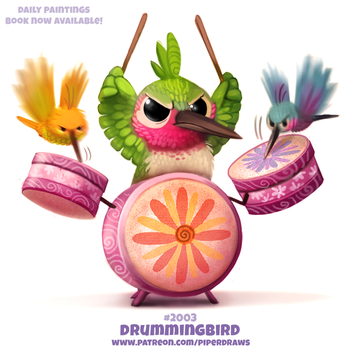 Daily Paint 2003# Drummingbird by Cryptid-Creations
