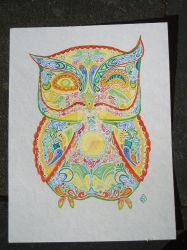 Sugarskull-ish owl of many colours, the third by Tindome-Art