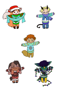 Soul's Christmas Sweater Chibis by RoseandherThorns