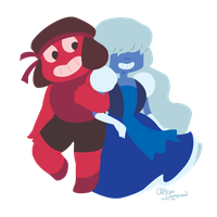 Ruby and Sapphire by InkyCakes