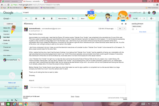 My Email to Cecilia Johnson (SaveWoy) by ShikaxTem