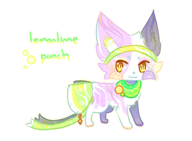 Ribbonfox Auction- Lemonlime Punch (CLOSED) by Kuro-The-Art-Kitsune