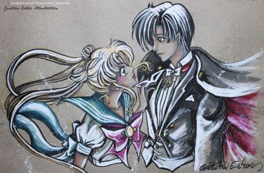 Sketch color Usagi x Mamoru -  Fanart Sailor Moon by CrisEsHer