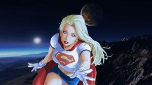 Supergirl Wallpaper Over Mountain Range 2 by Curtdawg53