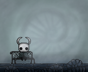 Hollow Knight in a bench by HyruleanLink