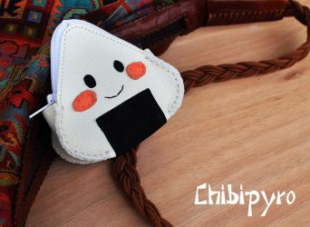 Leather purse Onigiri by ChibiPyro