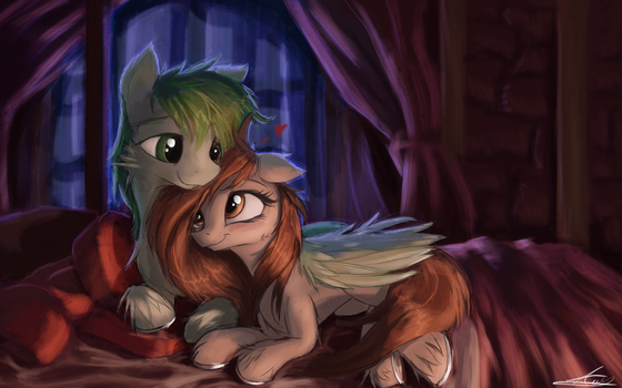 Wing Hugs and Hors Snugs [Commission] by AureliaFreefeather