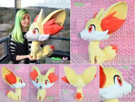 Lifesize Fennekin plush - more views by PinkuArt