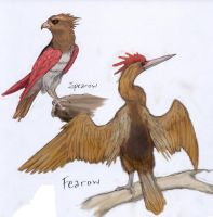021 Spearow and 022 Fearow by RtRadke