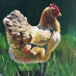 Hen - acrylic by miemotio