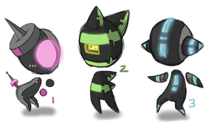 AUCTION [CLOSED] Glowy Robo Chibis by CloverWing