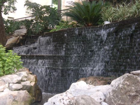 Riverwalk waterfalls by dragonkiss114