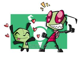 Zim and Gir Wallpaper by ZombiDJ