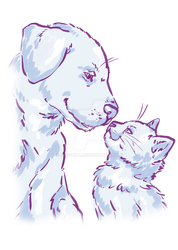 cat dog love by Fufunha