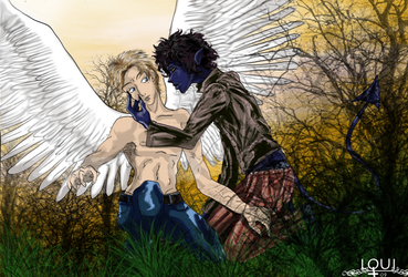 X-MEN  Kurt + Angel by LouiDragoon