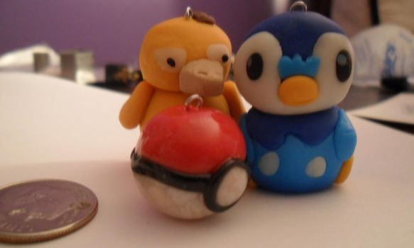 Piplup and Psyduck Clay Charms by HelloHeidi