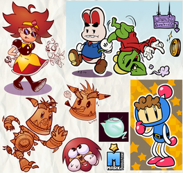 Eggette, Bomberman, Knack and Paper [Sketches#39] by MarkProductions