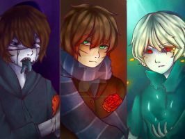 Eyeless Jack, Ben Drowned and Homicidal Liu by Cross-Hatch001