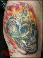 Brian's Sugar Skull by Reddogtattoo