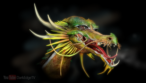 Playing with Sculptris #9 - Japanese Dragon Head by Rebecca1208