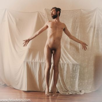 Nude Male Stock frontal flying arms wide by TheMaleNudeStock