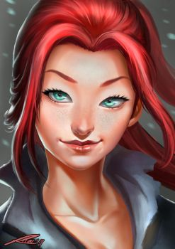 That girl with the red hair by Whiteghul