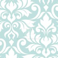 Flourish Damask Art I White on Lt Teal by NatPaskell