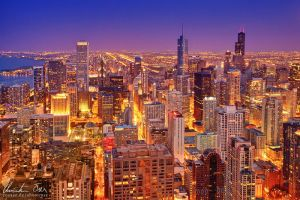 Chicago skyline at night by Nightline