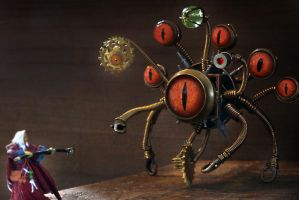 Steampunk beholder vs Wizard. by CatherinetteRings