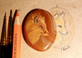 Fire fox stone painting by AlviaAlcedo
