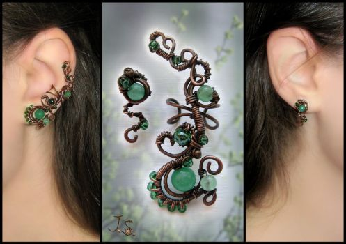 First foliage ear cuff and stud by JuliaKotreJewelry