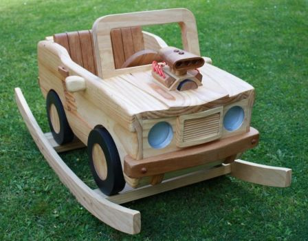 Wooden Rocking V8 Muscle Car by StevesWoodenToys