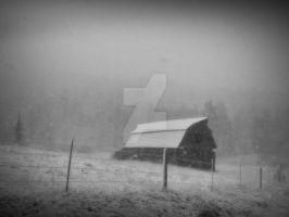 barn in the snow by PirateGrrrl