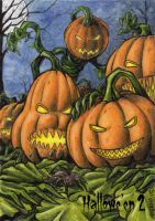 Jack-o-lanterns Sketch Card - Hallowe'en 2 by tonyperna