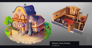 Weapon shop  concept art by Dameo-in
