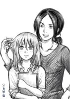 Ymir and Christa Doodle by hakuyukiko