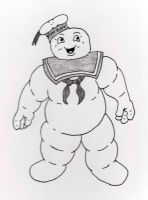 Stay Puft Marshmallow Man by jamsketchbook