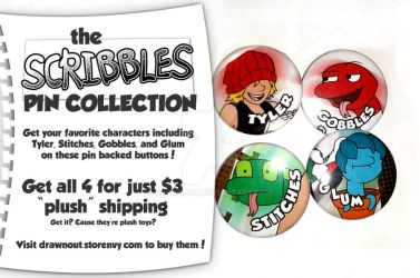 Scribbles Pin Collection NOW AVAILABLE by DR4WNOUT